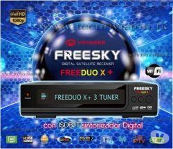 RECEPTOR FREESKY FREEDUO X+ 3 TUNNERS IPTV 3D GPRS